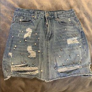 ✨ Beaded Jean Skirt